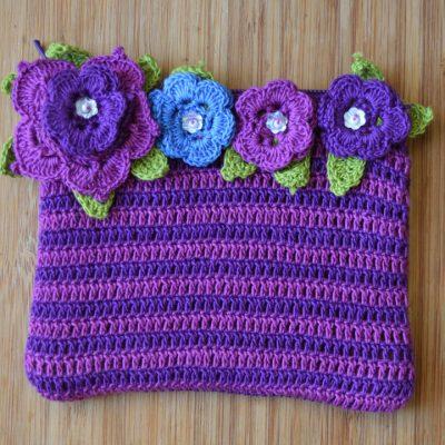 Crochet flower purses