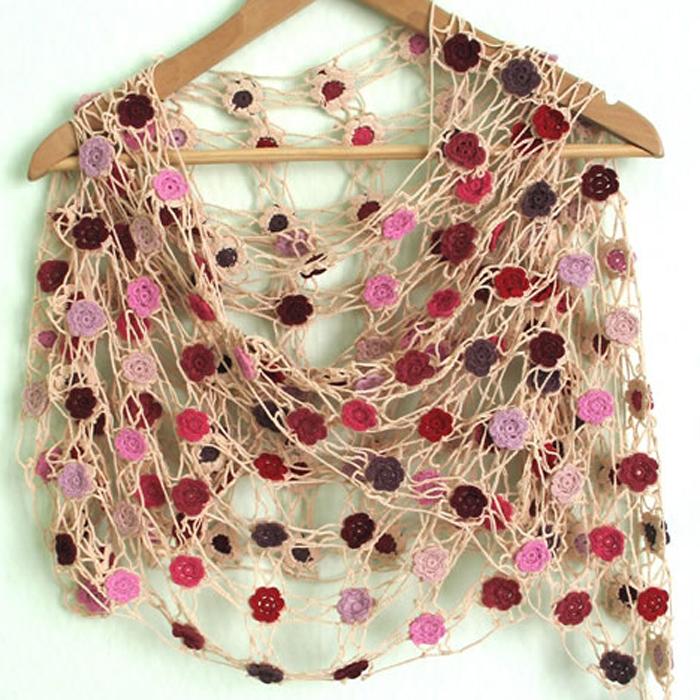 Crochet lace flower shawls