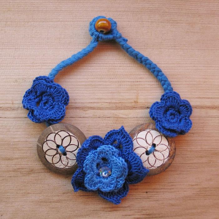 Crochet flower and button bracelets