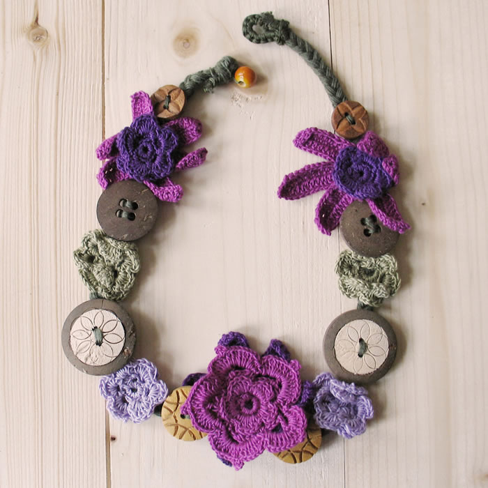 Cotton crochet & button necklaces