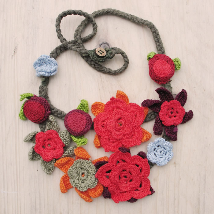 Cotton crochet two strand necklaces