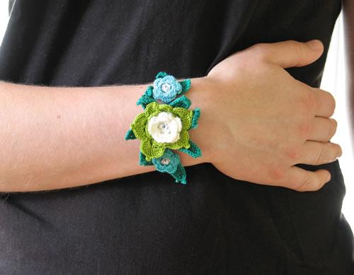 Crochet flower bracelets