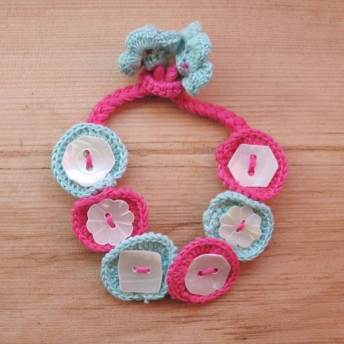 Crochet flower and shell bracelets