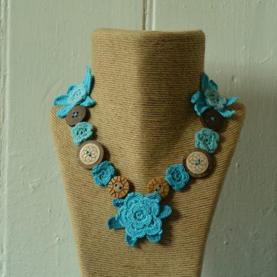 Crochet & button necklaces